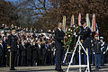 President Barack Obama, center, places a wreath at the Tomb of the Unknown Soldier during a Veterans Day ceremony at Arlington National Cemetery in Arlington, Va., Nov. 11, 2013 131111-D-BW835-669.jpg
