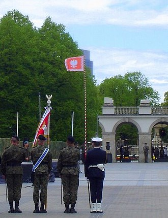 Jack of the President of the Republic of Poland - Presidential jack flying at the Tomb of the Unknown Soldier in Warsaw during a Constitution Day ceremony