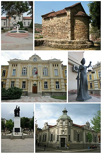 Prokuplje - Prokuplje- collage of image (General Hospital, Latin Church, City Hall, Statue on the court building in Prokuplje, Monument to World War I heroes in Prokuplje, National museum of Toplica)