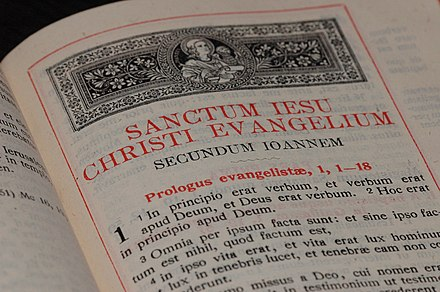 In principio erat verbum, Latin for In the beginning was the Word, from the Clementine Vulgate, Gospel of John, 1:1–18.