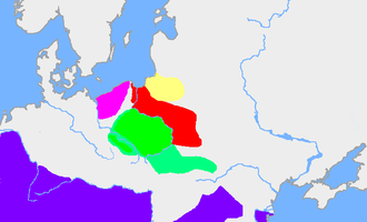 Dębczyn culture - The pink area is the Debczyn culture; the red area is the extent of the Wielbark culture in the first half of the 3rd century. The green area is the Przeworsk culture, and the yellow area is a Baltic culture (possibly the Aesti). The purple area is the Roman Empire
