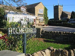 Holmesfield - Image: Pub and church, Holmesfield 275826