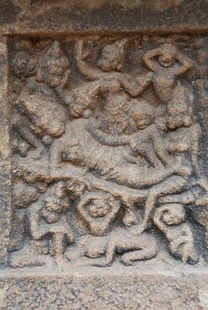 Vali (Ramayana) - The miniature panel in Pullamangai, Pasupathi Koil, Thanjavur captures the scene of Vali's death. Tara his wife, Angada his son, his brother Sugreeva and other Vanaras are lamenting his death.
