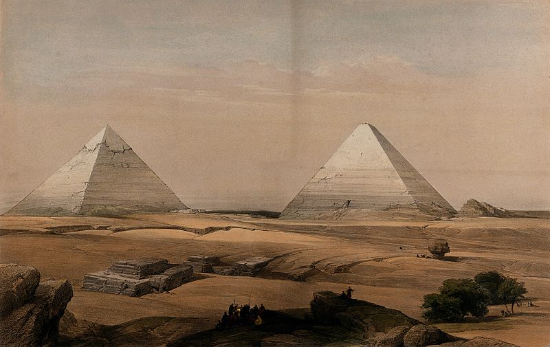 File:Pyramids at Gîza, Egypt. Coloured lithograph by Louis Haghe Wellcome V0049346.jpg
