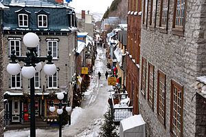 History of Quebec - Colonial buildings in the Lower Town of Old Quebec, Quebec City.