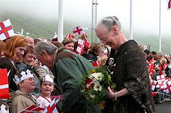 Queen Margrethe II of Denmark in Vágur, Faroe Islands, 21 June 2005