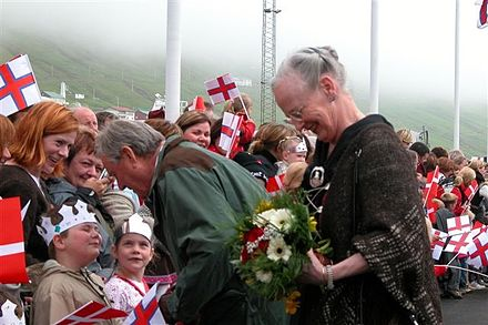 Queen Margrethe II in Vagur, Faroe Islands, 21 June 2005 Queen Margrethe 21-06-2005 Vagur.jpg