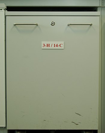 3H and 14C isotopes storage cabinet used for s...