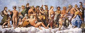 Twelve Olympians - Assembly of twenty gods, predominantly the twelve Olympians, as they receive Psyche (Loggia di Psiche, 1518–19, by Raphael and his school, at the Villa Farnesina)