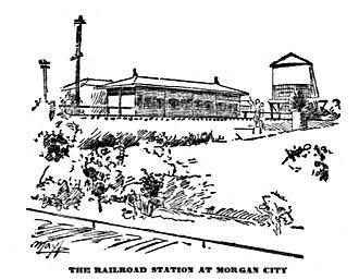 Texas and New Orleans Railroad - Railroad Station at Morgan City, Louisiana (1893)
