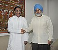 Ramesh Pokhriyal Nishank meeting the Deputy Chairman, Planning Commission, Shri Montek Singh Ahluwalia to finalize the Annual Plan outlay for 2011-12 of the State, in New Delhi on May 05, 2011.jpg