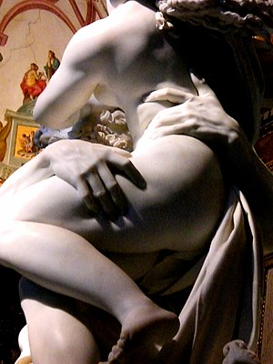 A detail of the Rape of Proserpina sculpture b...