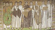Il mosaico nella Basilica di San Vitale raffigurante Giustiniano ed il suo seguito