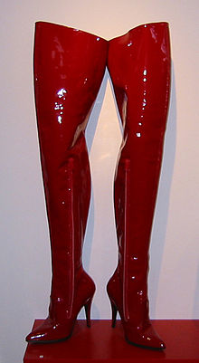 711271ca9 Red vinyl fetish thigh boots as art
