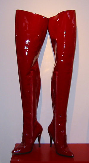 Thigh-high boots - Red vinyl fetish thigh boots as art