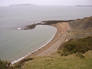 Redcliff Point - View of Redcliff Point with Weymouth Bay and the Isle of Portland in the background.