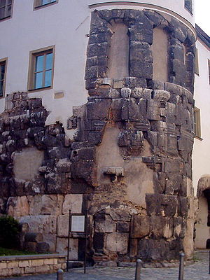 The remains of the East Tower of the Porta Praetoria from Roman times Regensburg-porta-praetoria 2.jpg
