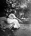 Relaxation, solitude, waiting, woman, garden, bench, posture, garden furniture Fortepan 2861.jpg