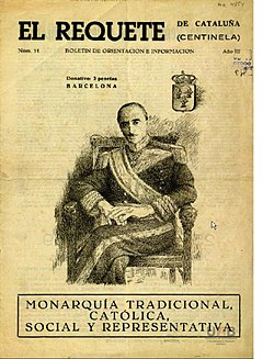 Don Javier on the cover of a Carlist periodical RequeteViladot.JPG