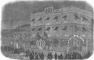 Jamsetjee Jejeebhoy - The Illustrated London News print of Jejeebhoy's residence, 1858