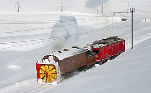 Rotary snowplow - Operational rotary snowplow Xrotd 9213 of Rhaetian Railway
