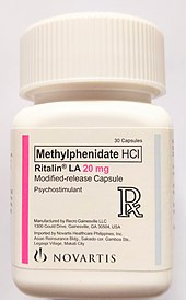 A bottle of methylphenidate tablets