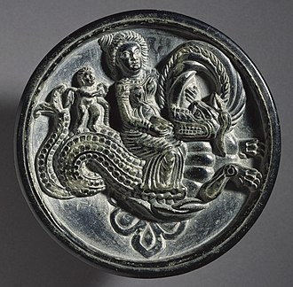 Stone palette - Image: Ritual Tray with a Nereid (Sea Nymph) and a Cherub Riding a Sea Monster (Ketos) LACMA M.2003.70