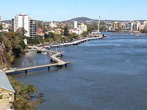 Riverwalk - The Brisbane Riverwalk is a network of paved paths on the Brisbane River.