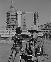 Robert Yarnall Richie with Mitchell Camera, Houston, Texas, at Shell Refinery (8466221312).jpg