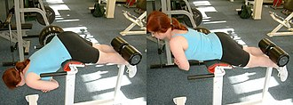 Strength training - A back extension.