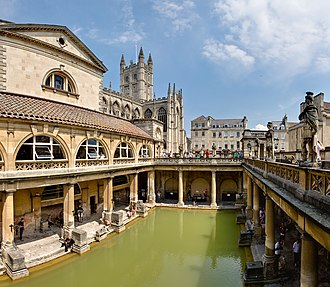 Thermae - Roman public baths in Bath, England. The entire structure above the level of the pillar bases is a later reconstruction.