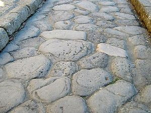 Surface of a roman road in Herculaneum, which ...