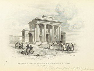 Birmingham Curzon Street railway station (1838-1966) - Image: Roscoe L&BR(1839) p 202 Entrance to the London & Birmingham Railway, Birmingham