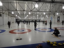 Curlers at play in a mixed receational league