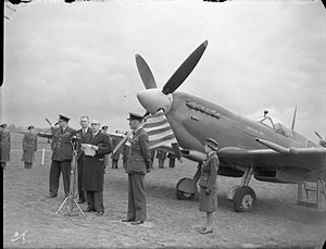 Uruguay during World War II - Mr. Montero de Bustamante, Uruguayan Chargé d'Affaires in the United Kingdom, speaking at a 1943 ceremony to name a Royal Air Force Spitfire fighter funded by Uruguayan donations.