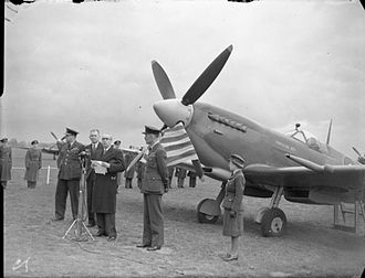 Senor Montero de Bustamante, Uruguayan Charge d'Affaires in the United Kingdom, speaking at a 1943 ceremony to name a Royal Air Force Spitfire fighter funded by Uruguayan donations. Royal Air Force Fighter Command, 1939-1945. CH11386.jpg