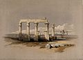 Ruins of the temple of Madînat Habû at Thebes, Egypt. Colour Wellcome V0049340.jpg