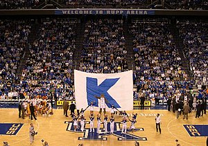 Kentucky Wildcats - The Kentucky cheerleaders at Rupp Arena during a basketball game
