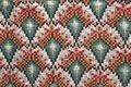 Sängdraperi. Textilmönster med nejlikor. Grå sängen. Detalj - Skoklosters slott - 85975.tif