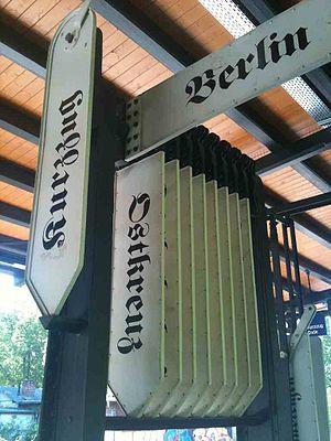 Berlin Wilhelmshagen station - Destination indicators on the platform at Wilhelmshagen