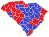Red counties were won by Haley and blue counties were won by Sheheen