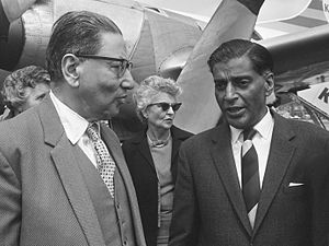 Sachindra Chaudhuri - Sachindra Chaudhuri (left) talking to the Indian ambassador in the Netherlands Rajkumar Raghunath Sinha (1966)