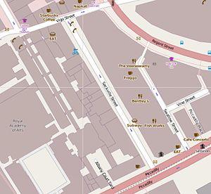 Sackville Street, London - The location of Sackville Street within London.
