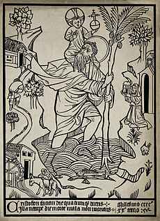 A Woodcut Of St Christopher Dated 1420