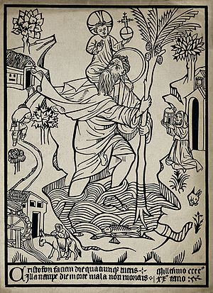 Old master print - A woodcut of St Christopher dated 1420