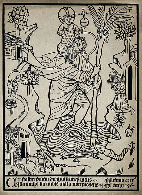 A woodcut of St Christopher dated 1420 Saint Christopher. Woodcut. Wellcome V0031876.jpg