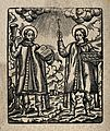 Saint Cosmas and Saint Damian. Woodcut. Wellcome V0033176.jpg