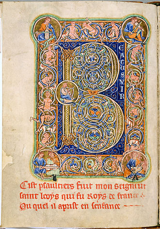 "Latin Psalters - ""Beatus initial"" for the start of Psalm 1 ""Beatus vir"", from the Leiden St Louis Psalter; first of the early tripartate divisions of the psalms"