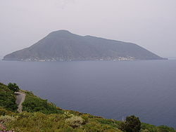 A view of Salina from the island of Lipari. The near peak is Fossa delle Felci