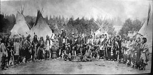 Flathead Indian Reservation - Salish men near tipis (1903, Flathead Reservation, Montana)